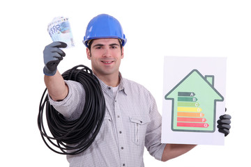 an electrician showing an energy class chart