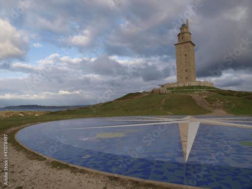 Leinwanddruck Bild Torre de Hercules en La Coruña