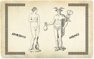 Aphrodite and Hermes illustration