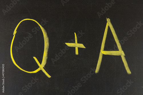 Questions and Answers on a blackboard.