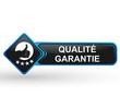 qualité garantie sur bouton web carré design bleu