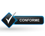 conforme sur bouton web carré design bleu poster