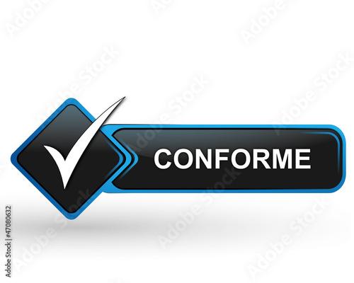 poster of conforme sur bouton web carré design bleu