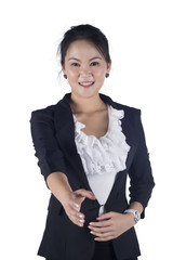 Smiling business woman shake hands on the white background