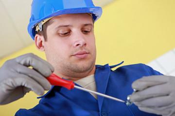 Plumber hard at work