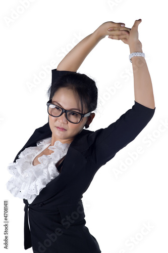 Tired business woman stretching