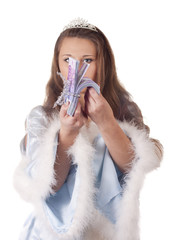 Snow Maiden with money in hand on white background
