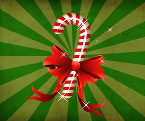Grunge christmas candy cane with bow