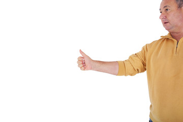 Man lifts thumb