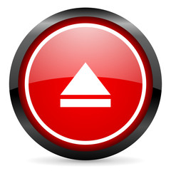 eject round red glossy icon on white background