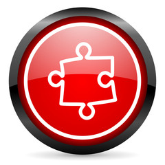 puzzle round red glossy icon on white background