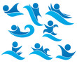 collection of aqua park and swimming symbols