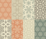 8 Vector Seamless Winter Patterns with  Snowflakes