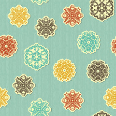 Vector Seamless pattern with  Highly Detailed Paper Cut Snowflak