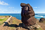 Short standing moai at shore in Easter Island