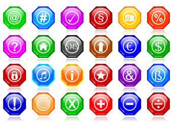 Many different colorful icons as octagons - illustration