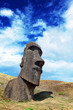 Lone moai in Easter Island