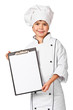 Little chef holding blank chefs special restaurant menu board