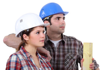 Construction workers on white background