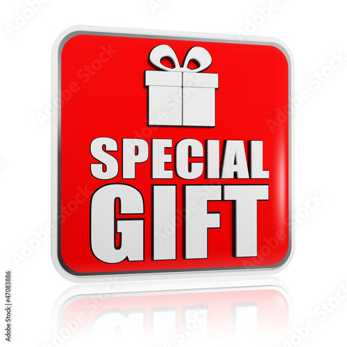 special gift banner with present box symbol