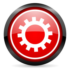 gears round red glossy icon on white background