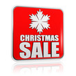 christmas sale red banner with snowflake symbol