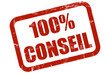 Grunge Stempel rot 100% CONSEIL
