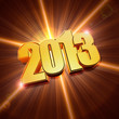 golden year 2013 with shining rays