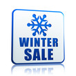 winter sale white banner with snowflake symbol