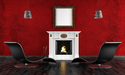 black and red vintage room