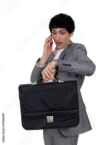 Panicked businessman
