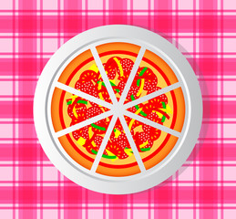 Pizza on porcelain plate