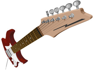 Horizontal illustration with red electric guitar.