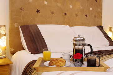Breakfast on hotel bed