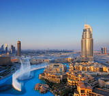 Fototapety Downtown Dubai with its famous dancing water fountain