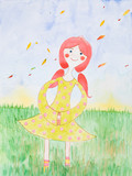 watercolor illustration, young girl in fall season