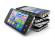 Mobile phones with touchscreen. 3d