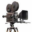 Vintage movie camera on white background. 3d - 47088892