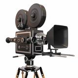 Vintage movie camera on white background. 3d
