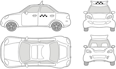Taxi passenger car (outlined top, side, back, front view)
