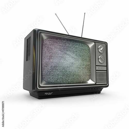 Vintage tv with noise screen. 3d
