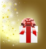 Gold Christmas background, gift