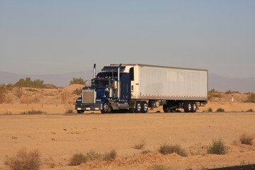 Tractor trailer in Desert