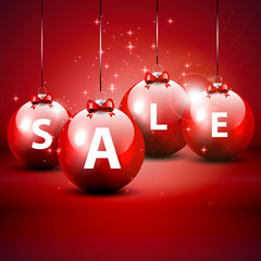 Christmas sale red background