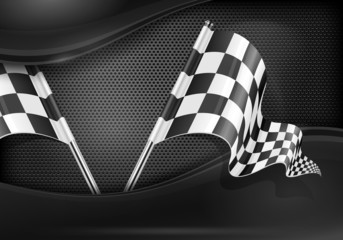 Checkered flags on mash background