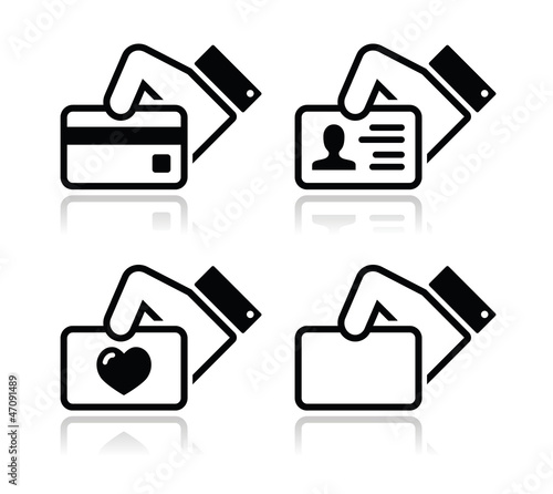 Hand holding credit card, business card, ID icons set