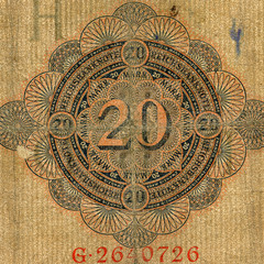 Part of  expired german banknote