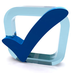 Boxed Blue Tick Shows Quality And Excellence