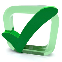 Green Tick Shows Quality And Excellence