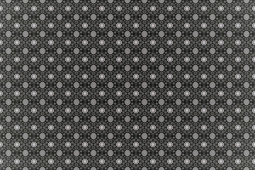 White abstract ornament pattern, on black textured background